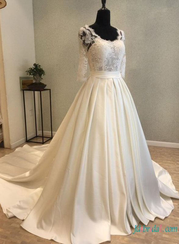 H0801 Modest satin ball gown formal wedding dress with sleeves