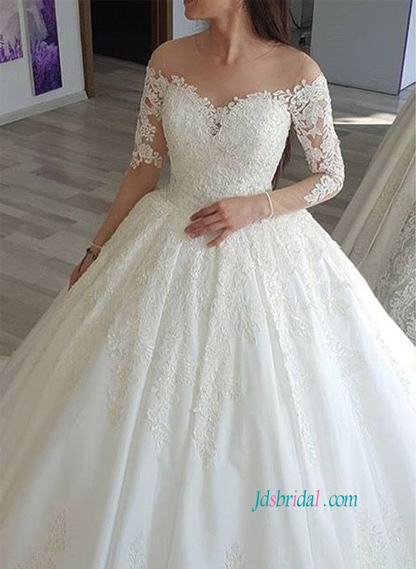 H0809 Romantic lace ball gown wedding dress on sale