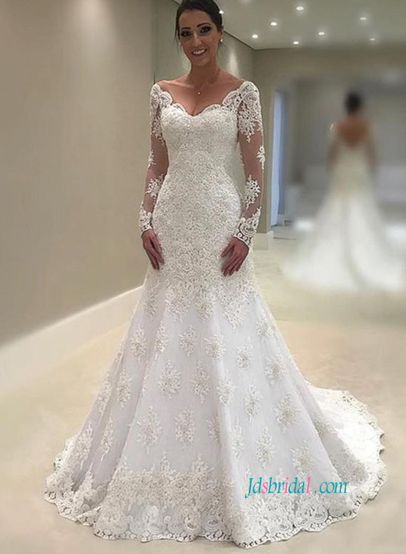 H0810 Sexy low back lace long sleeved mermaid wedding dress