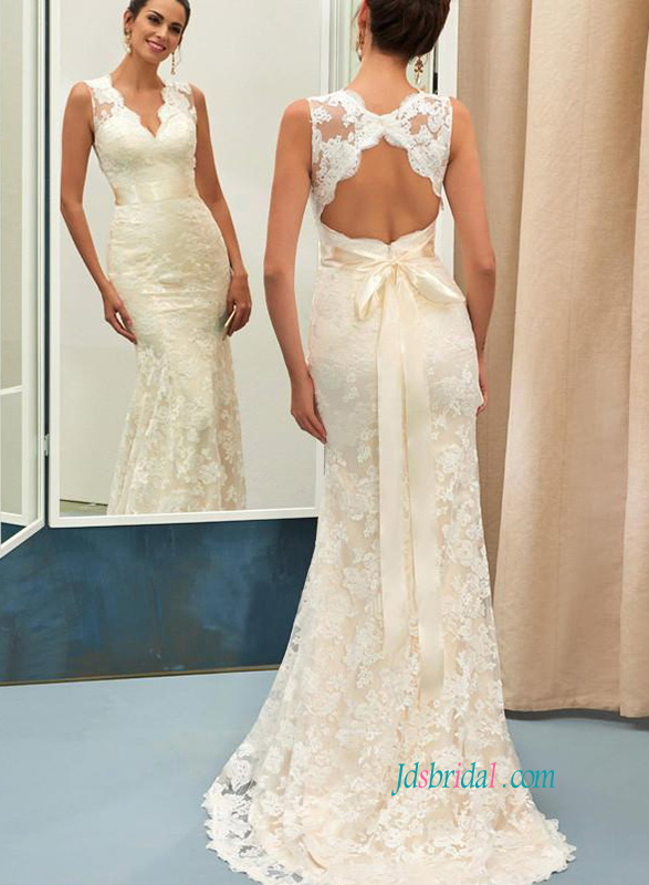H0814 Elegance Lace Mermaid Wedding Dress With Open Back