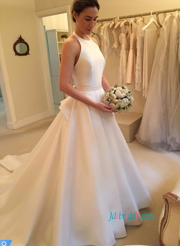 H0815 Elegant halter satin ball gown wedding dress with bow