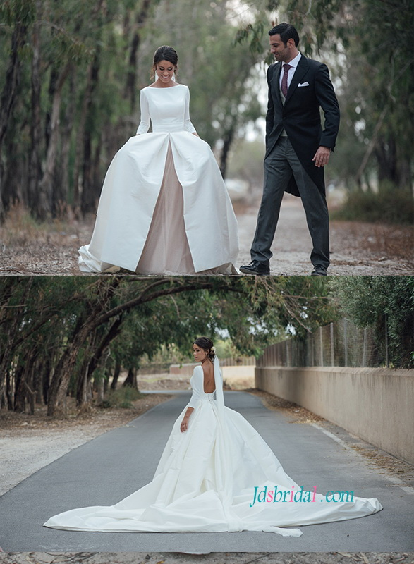 H0818 Customized two pieces open back ball gown wedding dress