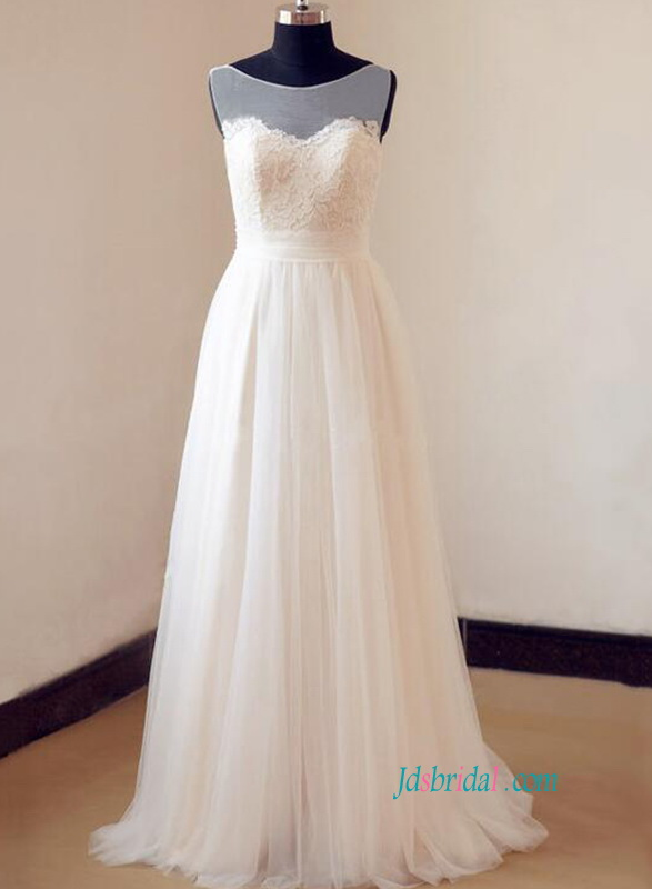 H0819 Simply soft airy tulle a line destination wedding dress
