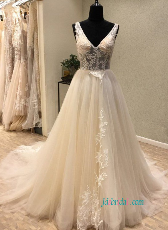 H0820 Sexy illusion top low v back tulle ball gown wedding dress