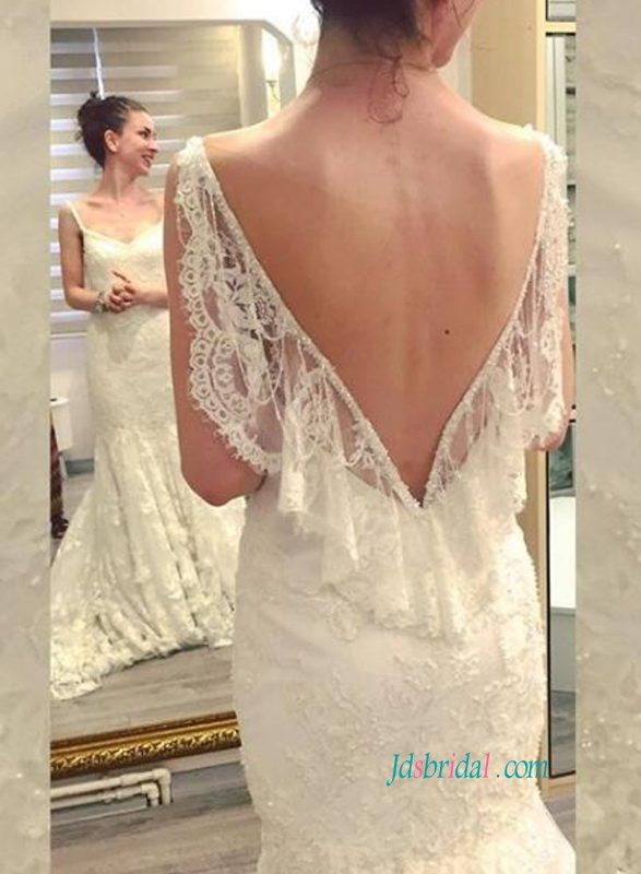 H0823 Sexy v cut back lace mermaid wedding dress for sale