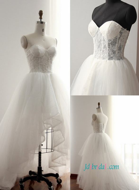 H0825 Sexy illusion lace high low hemline beach wedding dress