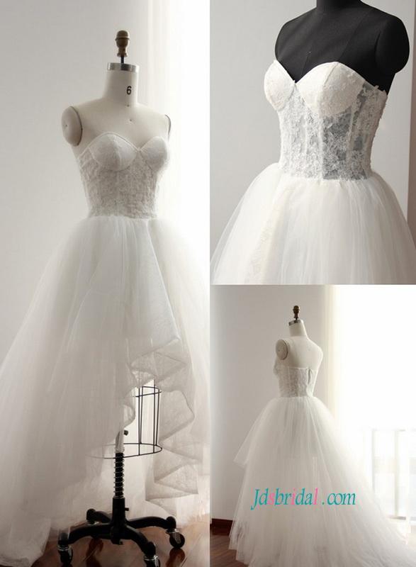 4fd9ca211ca7 H0825 Sexy illusion lace high low hemline beach wedding dress