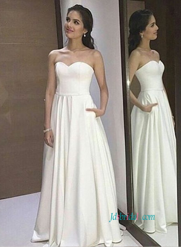 cheap simple a line wedding dress with sweetheart neckline without embellishments