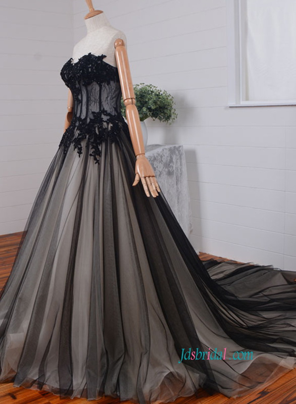 H0829 Sexy illusion black overlay champagne wedding ball gown dress