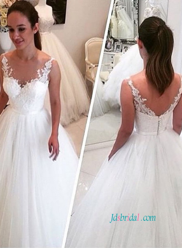 H0830 Romantic Tulle Ball Gown Wedding Dress With Straps