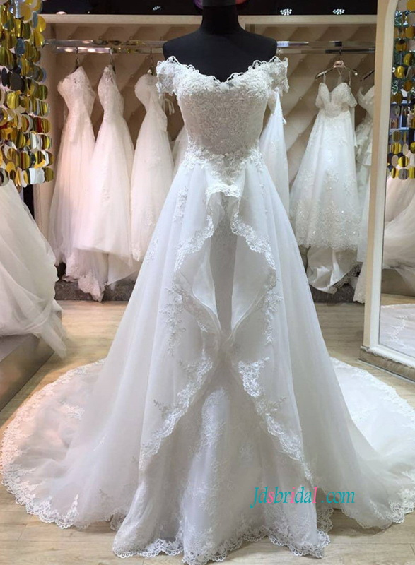Romantic princess organza white wedding dress for 2018 wedding inspirations