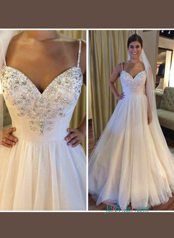 a1a8c1e2144 H0837 Sparkly thin straps princess ball gown wedding dress