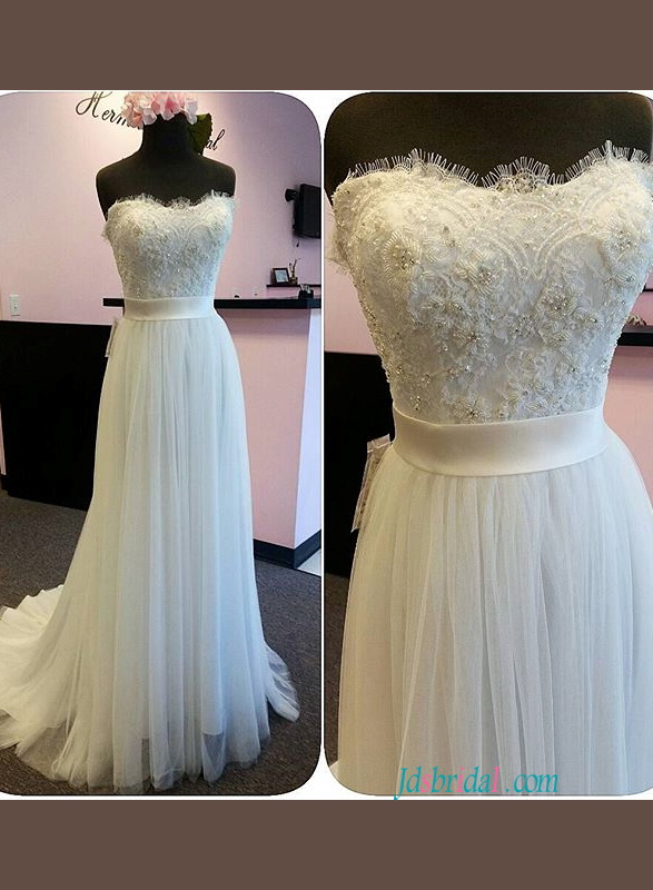 strapless beaded lace bodice flowy a line tulle wedding dress for sale which under $400