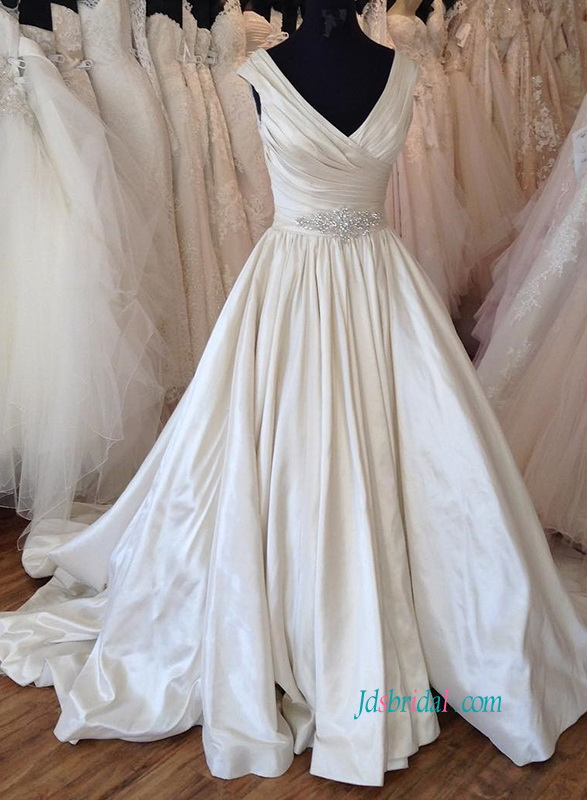 H0842 Inspired designer satin v neckline ball gown wedding dress