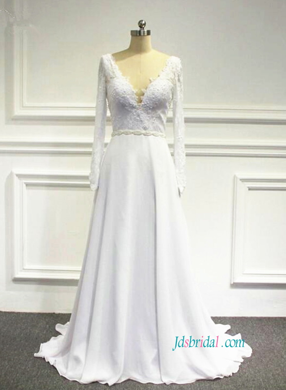 H0843 Sexy open back white chiffon long sleeved wedding dress