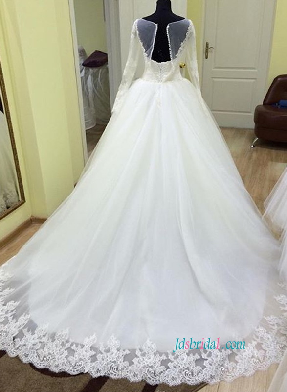 H0845 Romantic long sleeved tulle princess wedding dress