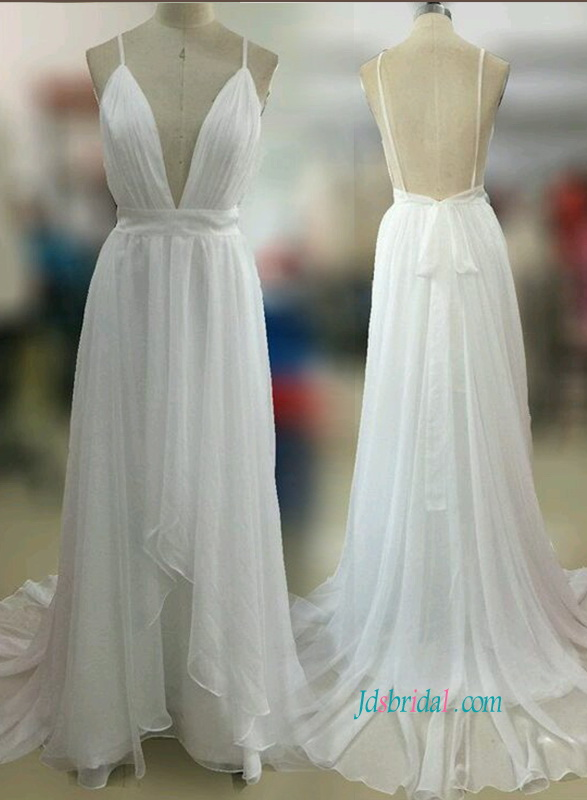 H0848 Sexy backless boho beach chiffon wedding dress