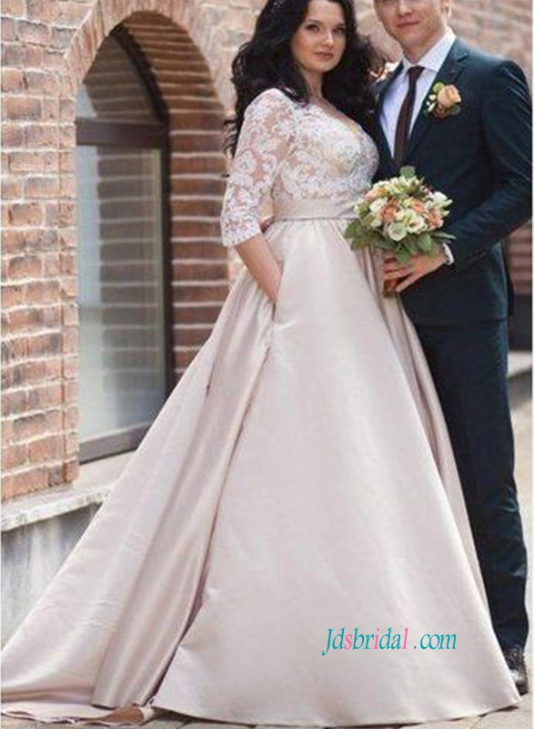 afcf67428bf H0850 Plus size champagne 1 2 length sleeved wedding dress
