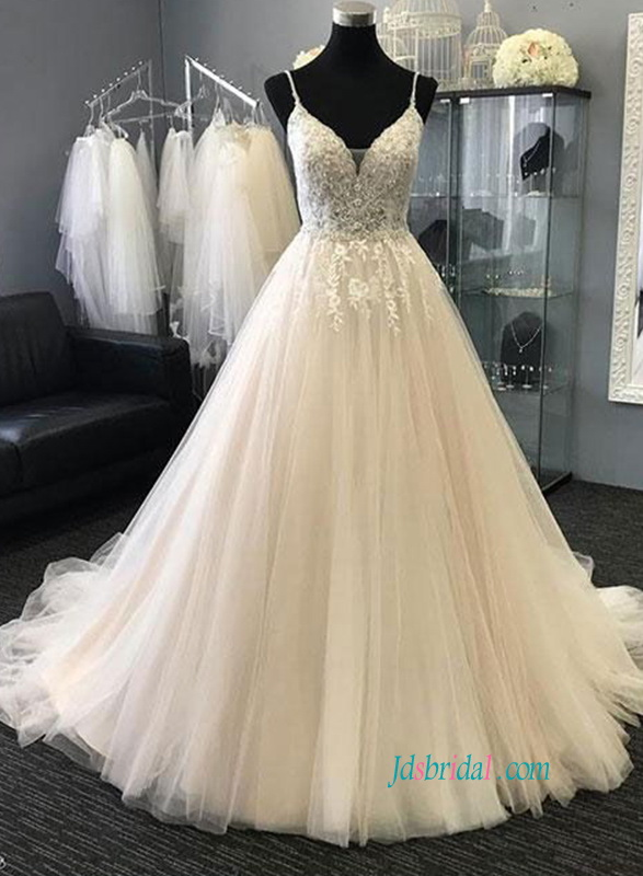 H0851 Sexy spaghetti straps tulle wedding ball gown dress