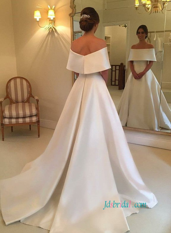 romantic off the shoulder simply satin ball gown wedding dress for modest wedding