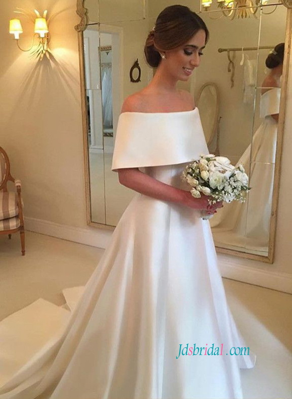 romantic royal off the shoulder simply satin ball gown wedding dress for modest wedding
