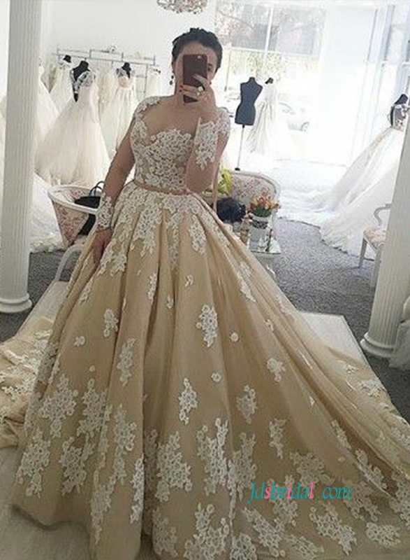H0855 Gorgeous Gold And Ivory Lace Ball Gown Wedding Dress