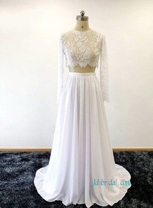 H0856 Sexy two pieces sheer lace top chiffon skirt wedding dress