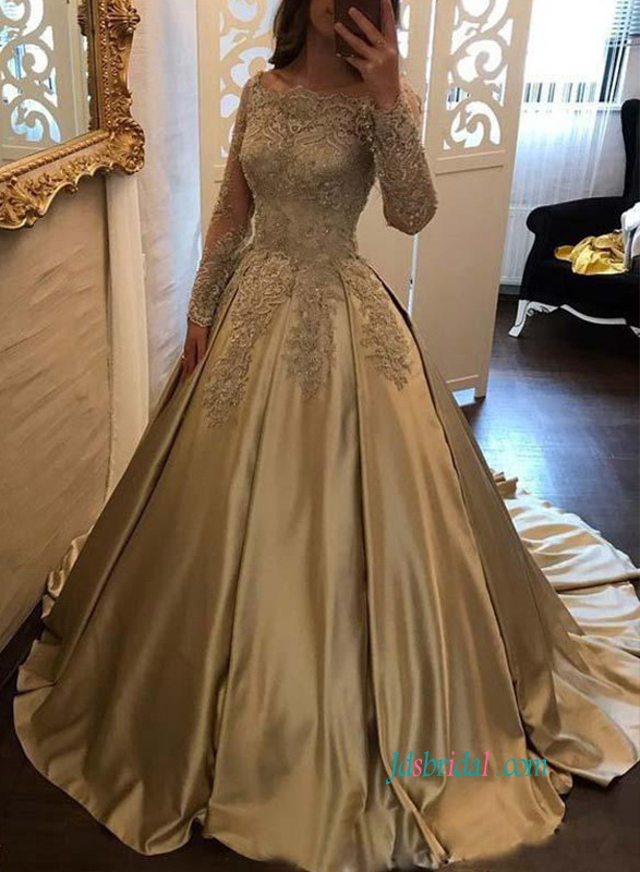 H0857 Gorgeous gold color off the shoulder ball gown wedding dress