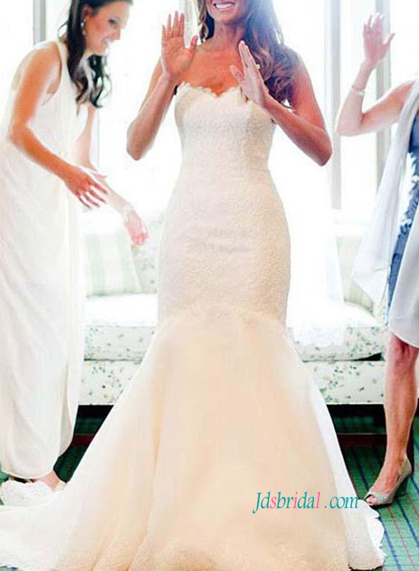 H0860 Sweetheart neckline lace mermaid wedding dress