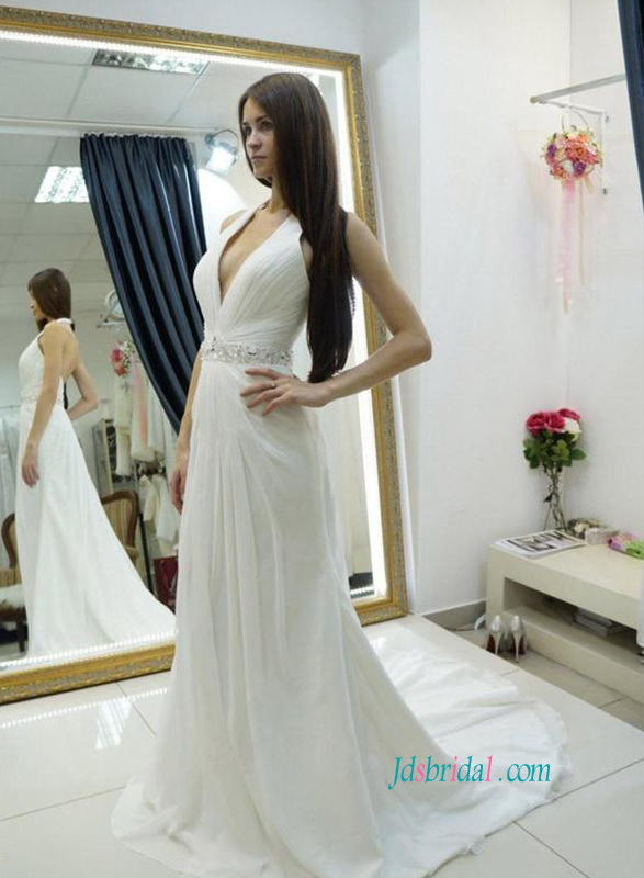 H0864 Sexy halter low back chiffon destination wedding dress