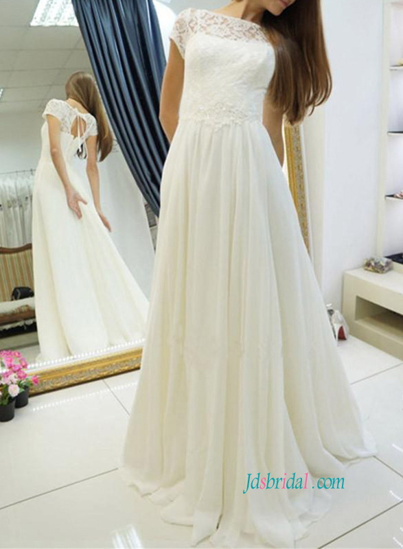 H0865 Short sleeved simply destination chiffon wedding dress