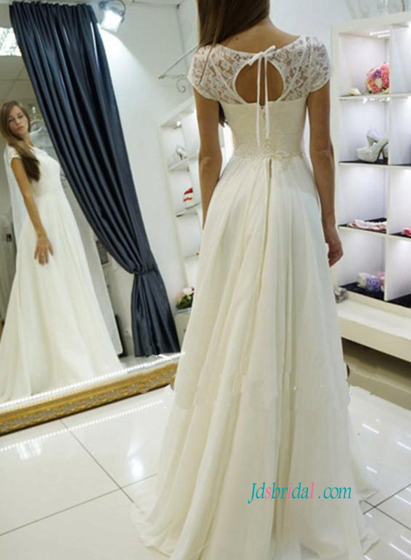 simply chiffon a line beach wedding dress with lace top and short sleeves on sale