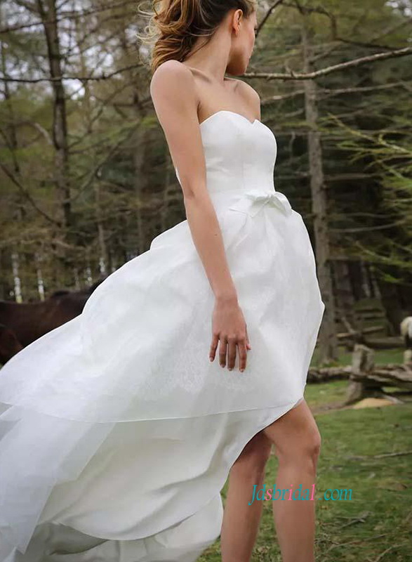 H0866 Simply strapless high low organza wedding dress