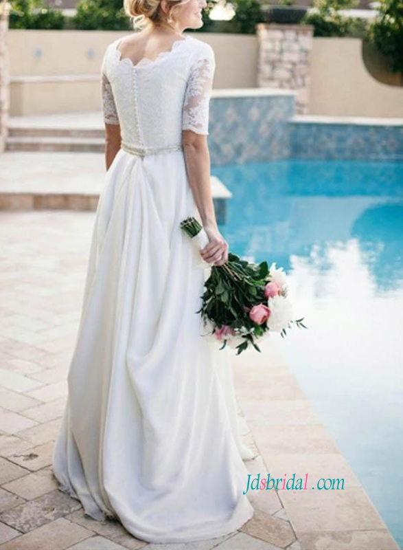 modest scoop neckline 1/2 length sleeves a line lace and chiffon wedding dress for civil wedding