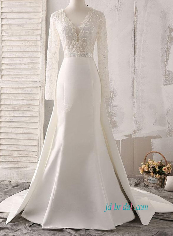 H0868 Sexy illusion beading long sleeved mermaid wedding dress