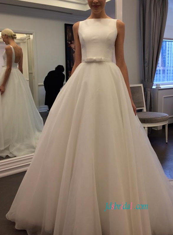 simply elegant square open low back organza ball gown wedding dress
