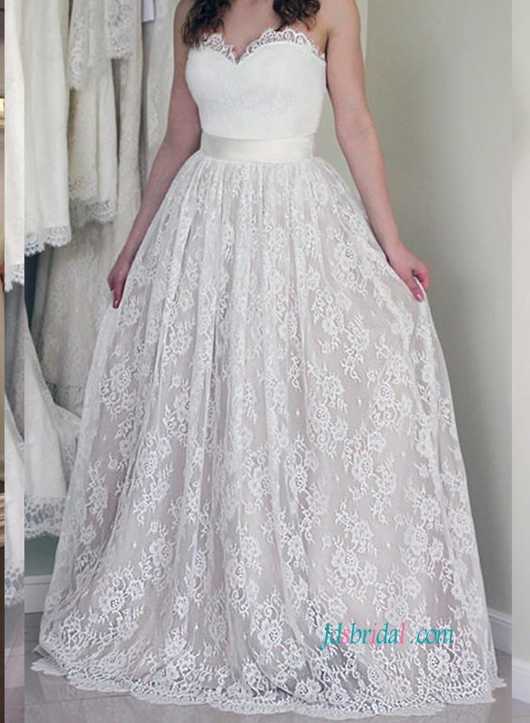 H0870 Unique vintage withe lace overlay blush a line wedding dress