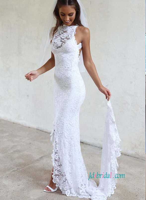 H0871 sexy lace backless slit skirt sheath wedding dress h0871 sexy lace backless slit skirt sheath wedding dress junglespirit Choice Image