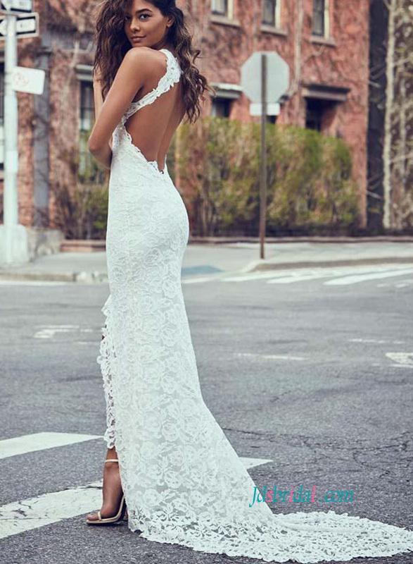 3100b4d275ee H0871 Sexy lace backless slit skirt sheath wedding dress :
