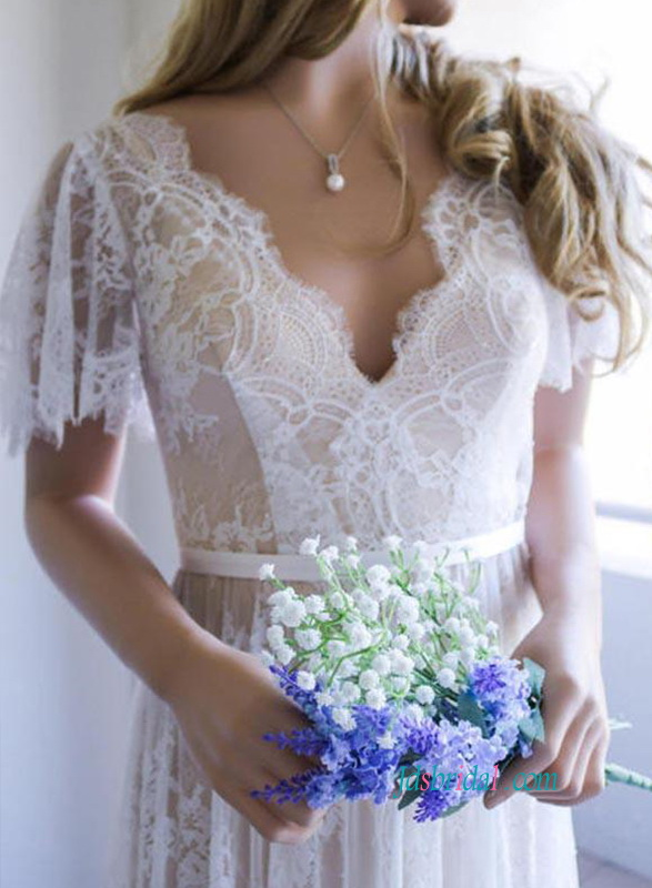 H0872 Sexy deep v cut back nude with ivory lace wedding dress