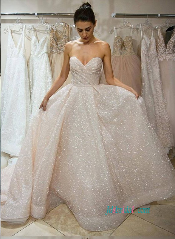 H0875 Glitter sparkly sequins sweetheart ball gown wedding dress :