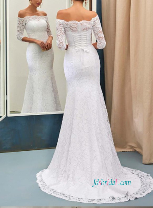 H0876 Off the shoulder lace mermaid wedding dress with sleeves