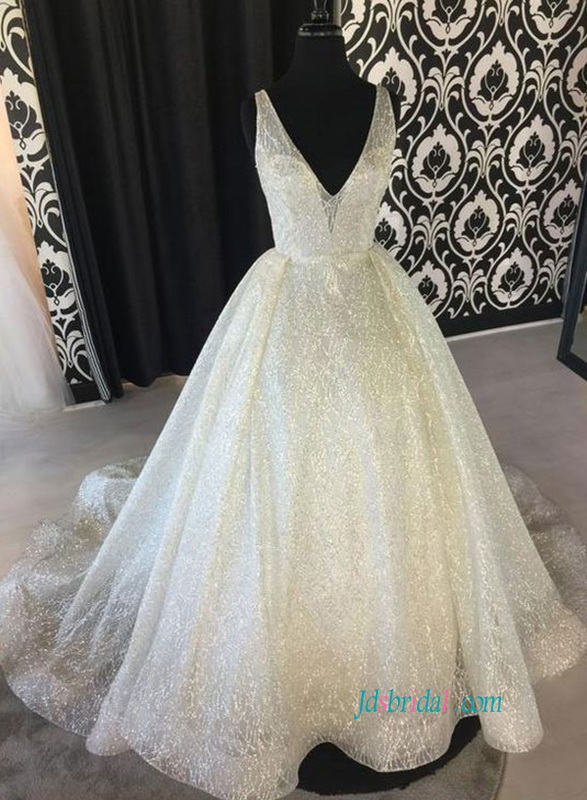 H0877 Sexy low v back bling sequins ball gown wedding dress