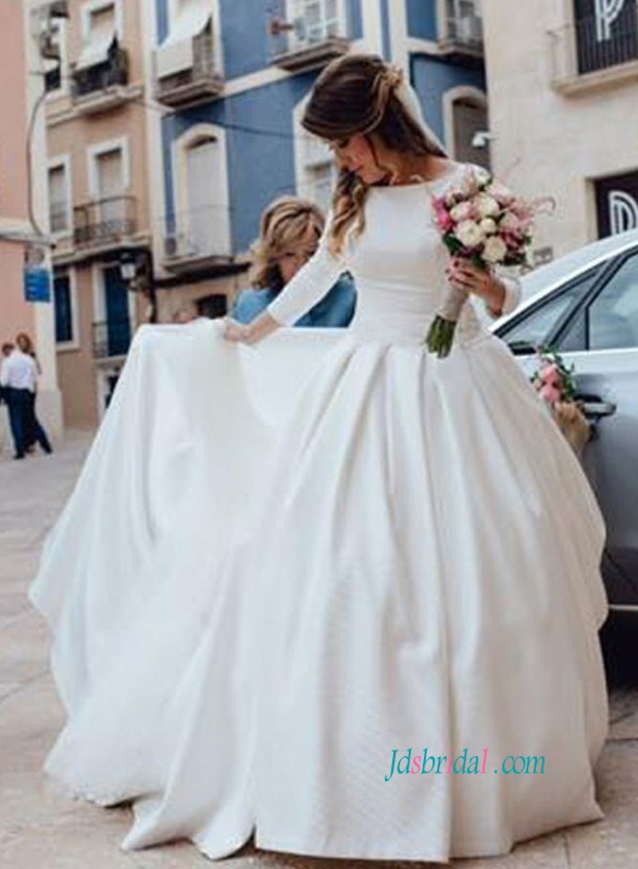 H0880 Modest formal white satin ball gown wedding dress with sleeves