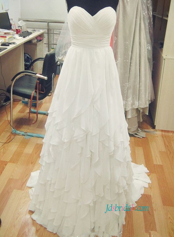 H0883 Flowy cascade a line chiffon wedding bridal dress