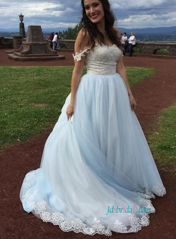Blue Colored Wedding Dresspastel Blue Lace Tulle Wedding Gowns Online