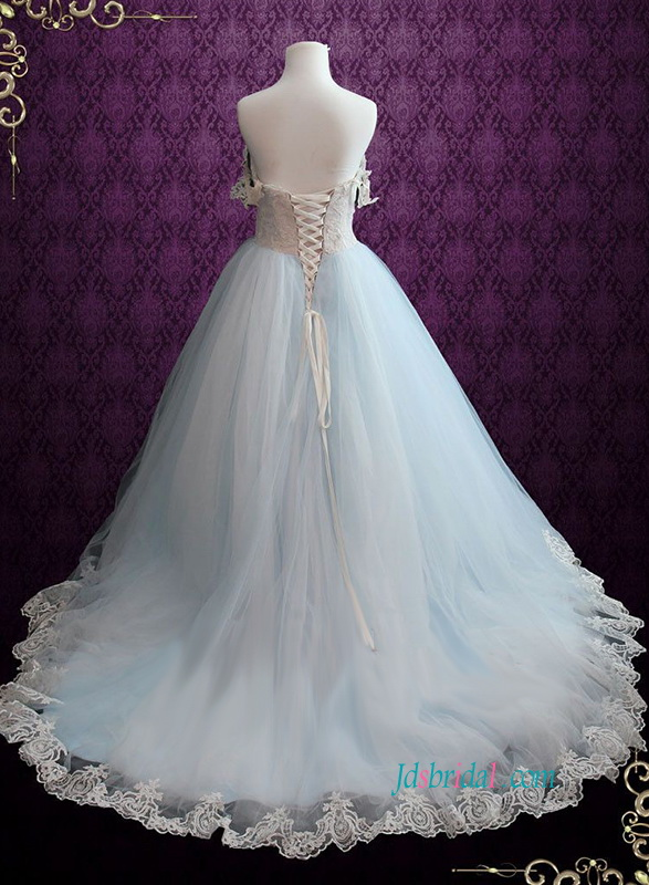 unique soft blue and ivory colored tulle bridal wedding dress with off shoulder straps
