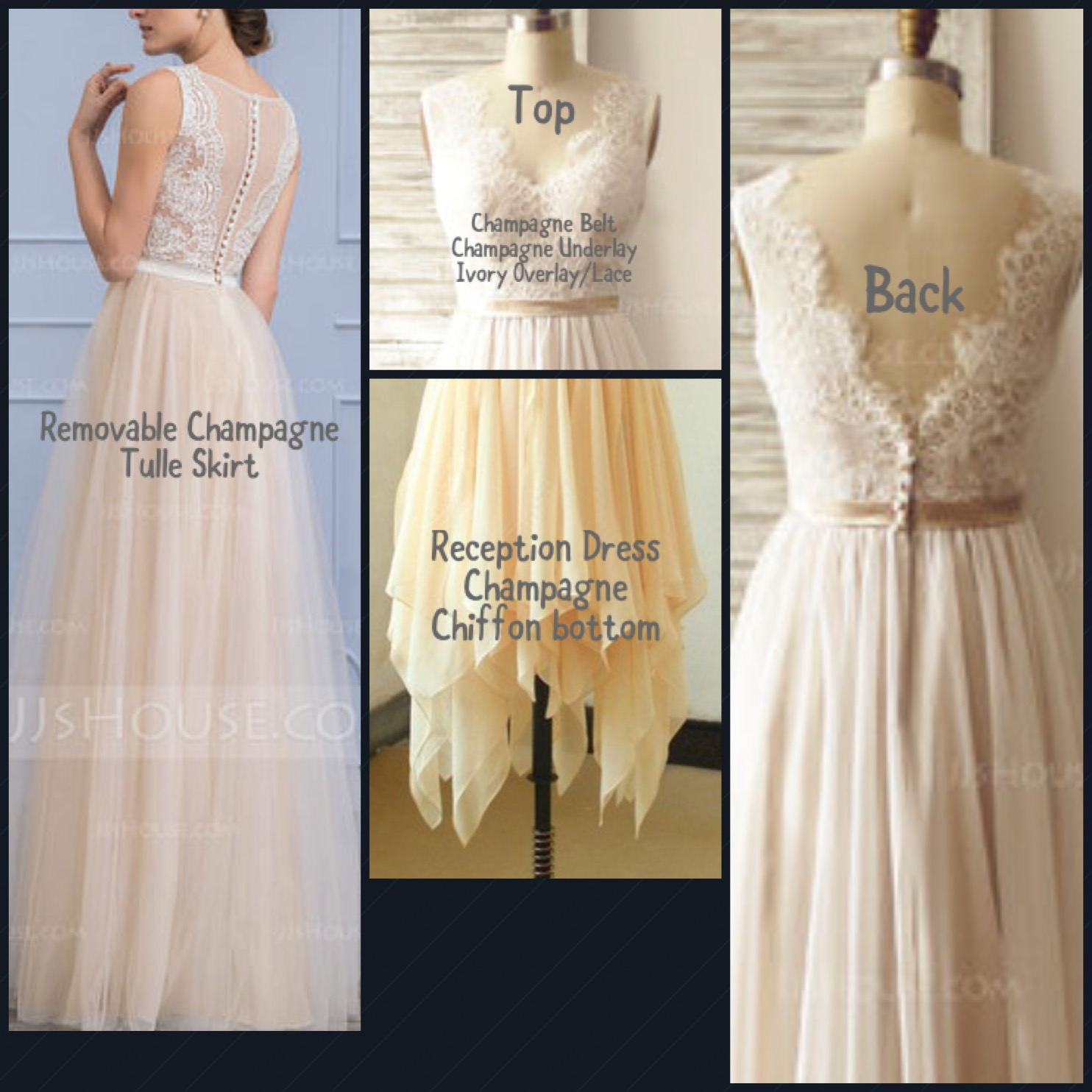 H0885 Custom short wedding dress with removable tulle skirt