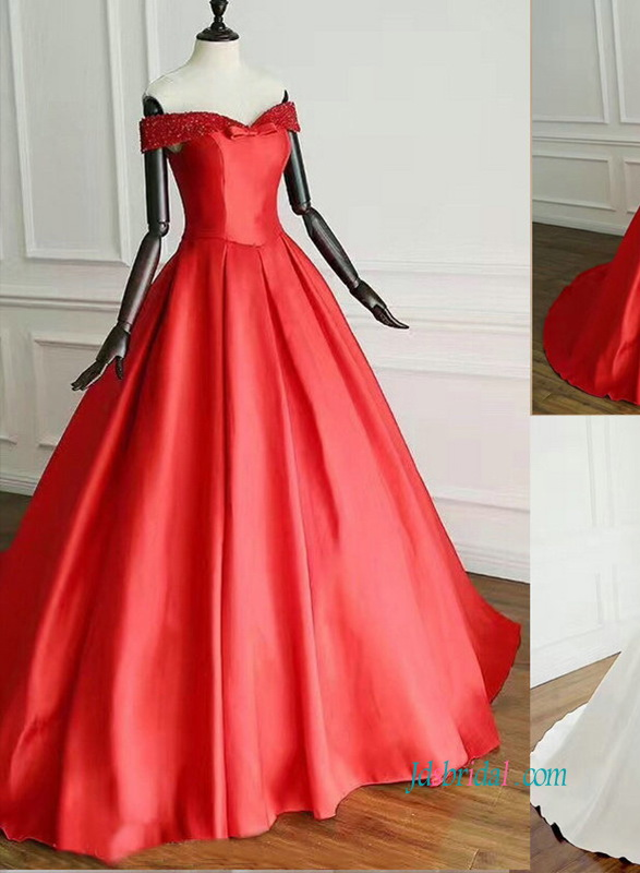 H0888 Simply off the shoulder red satin ball gown wedding dress