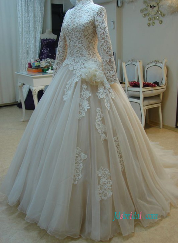 Modest champagned color and ivory lace organza ball gown wedding dress with long sleeves and high neckline